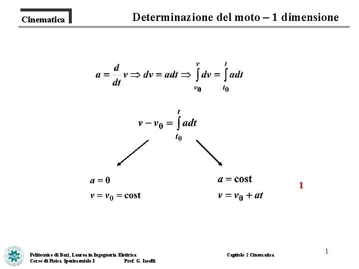 Cinematica Determinazione del moto 1 dimensione 1 Politecnico