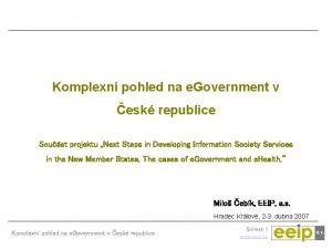 Komplexn pohled na e Government v esk republice