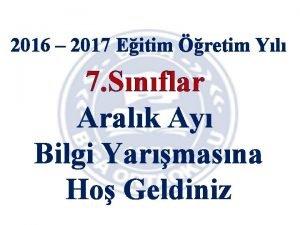 2016 2017 Eitim retim Yl 7 Snflar Aralk