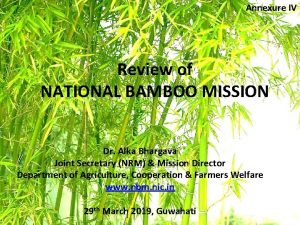 Annexure IV Review of NATIONAL BAMBOO MISSION Dr