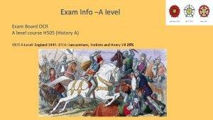 Exam Info A level Exam Board OCR A