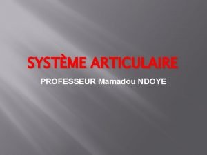 SYSTME ARTICULAIRE PROFESSEUR Mamadou NDOYE SYSTME ARTICULAIRE DEFINITION