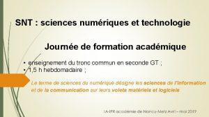 SNT sciences numriques et technologie Journe de formation