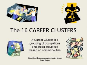 The 16 CAREER CLUSTERS A Career Cluster is