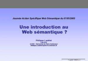 Journe Action Spcifique Web Smantique du 07052003 Une