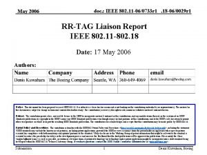 May 2006 doc IEEE 802 11 060733 r
