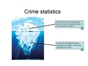Crime statistics Crime that has been reported to
