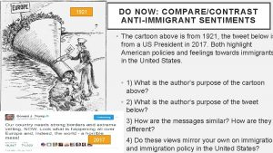 DO NOW COMPARECONTRAST ANTIIMMIGRANT SENTIMENTS 1921 The cartoon