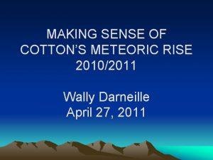 MAKING SENSE OF COTTONS METEORIC RISE 20102011 Wally