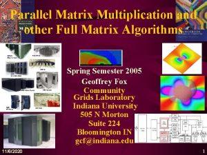 Parallel Matrix Multiplication and other Full Matrix Algorithms