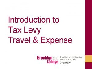 Introduction to Tax Levy Travel Expense The Office