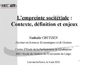 Lempreinte socitale Contexte dfinition et enjeux Nathalie CRUTZEN