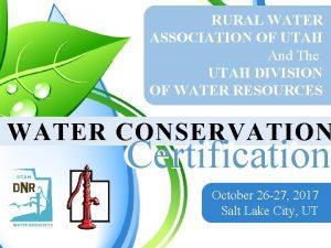 RURAL WATER ASSOCIATION OF UTAH And The UTAH