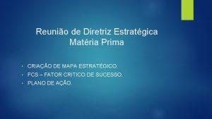 Reunio de Diretriz Estratgica Matria Prima CRIAO DE