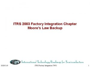 ITRS 2003 Factory Integration Chapter Moores Law Backup