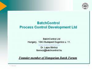 Batch Control Process Control Development Ltd Batch Control