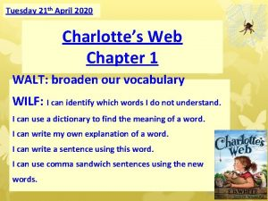 Tuesday 21 th April 2020 Charlottes Web Chapter