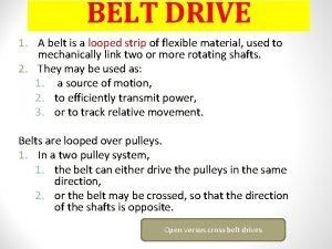 BELT DRIVE 1 A belt is a looped