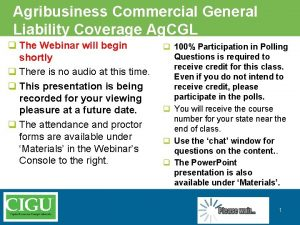 Agribusiness Commercial General Liability Coverage Ag CGL q