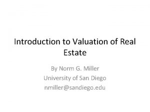 Introduction to Valuation of Real Estate By Norm