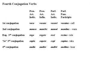 Fourth Conjugation Verbs Pres Act Indic Pres Act