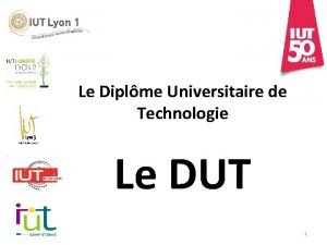 Le Diplme Universitaire de Technologie Le DUT 1