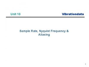 Unit 10 Vibrationdata Sample Rate Nyquist Frequency Aliasing