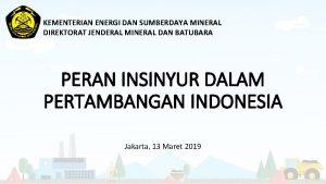 KEMENTERIAN ENERGI DAN SUMBERDAYA MINERAL DIREKTORAT JENDERAL MINERAL