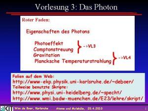 Vorlesung 3 Das Photon Roter Faden Eigenschaften des