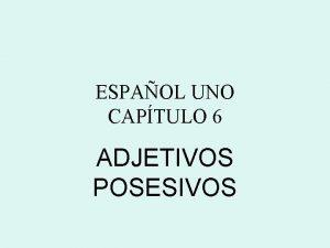 ESPAOL UNO CAPTULO 6 ADJETIVOS POSESIVOS Adjetivos Posesivos