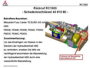 RC 1003 Rckruf RC 1003 Schadensschlssel 43 910