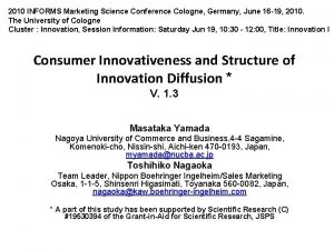 2010 INFORMS Marketing Science Conference Cologne Germany June