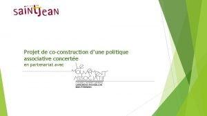 Projet de coconstruction dune politique associative concerte en