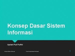 Konsep Dasar Sistem Informasi Apriani Puti Purfini Konsep