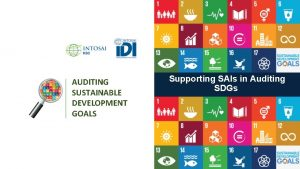 AUDITING SUSTAINABLE DEVELOPMENT GOALS Supporting SAIs in Auditing