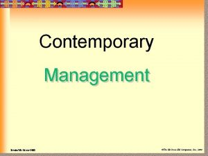Contemporary Management IrwinMc GrawHill The Mc GrawHill Companies