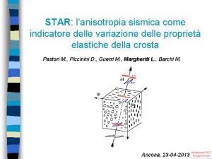 STAR lanisotropia sismica come indicatore delle variazione delle