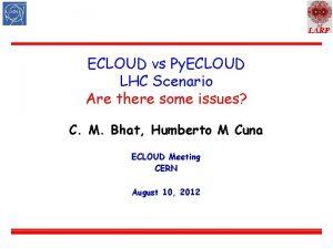 US ECLOUD vs Py ECLOUD LHC Scenario Are