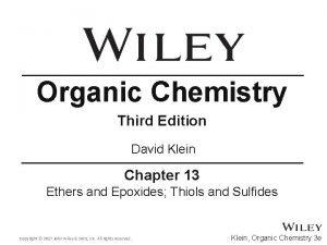 Organic Chemistry Third Edition David Klein Chapter 13