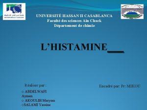 UNIVERSIT HASSAN II CASABLANCA Facult des sciences Ain