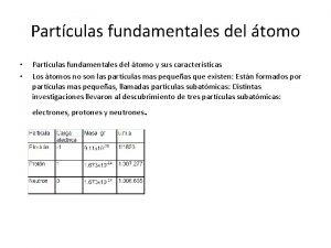 Partculas fundamentales del tomo Partculas fundamentales del tomo