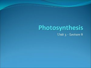 Photosynthesis Unit 3 Lecture 8 Photosynthesis Photosynthesis the