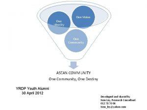 One Identity One Vision One Community ASEAN COMMUNITY