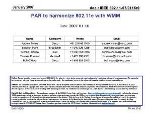 January 2007 doc IEEE 802 11 070116 r