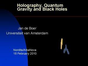 Holography Quantum Gravity and Black Holes Jan de