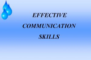 EFFECTIVE COMMUNICATION SKILLS Objectives Define and understand communication
