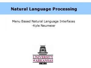 Natural Language Processing Menu Based Natural Language Interfaces