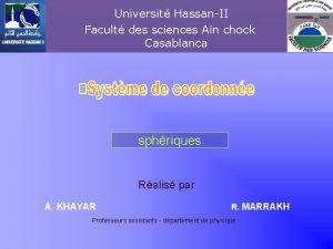 Universit HassanII Facult des sciences An chock Casablanca