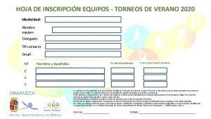 HOJA DE INSCRIPCIN EQUIPOS TORNEOS DE VERANO 2020
