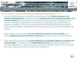 PREMIRE ACTION SOCITS DE VALORISATION LES SOCITS DACCLRATION